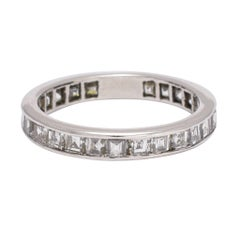 Art Deco circa 1920 2.0 Carat Carre Cut Diamond Platinum Eternity Ring