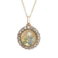 "Antique Victorian Essex Crystal ""White Rose"" Round Locket Pendant"