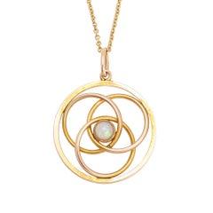 Antique Art Nouveau Intersecting Circles Opal Pendant Necklace