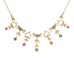 Antique Late Victorian Tourmaline and Pearl Gold Necklace
