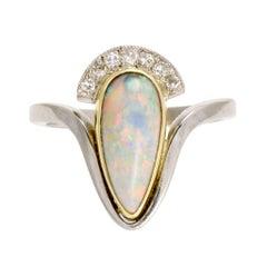 Antique Art Nouveau Black Opal Diamond Cocktail Ring