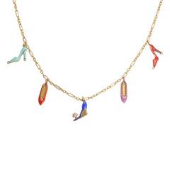 Art Deco Diamond Enamel Shoes Necklace
