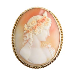 "Antique Victorian ""Antinous"" Shell Cameo Gold Brooch"