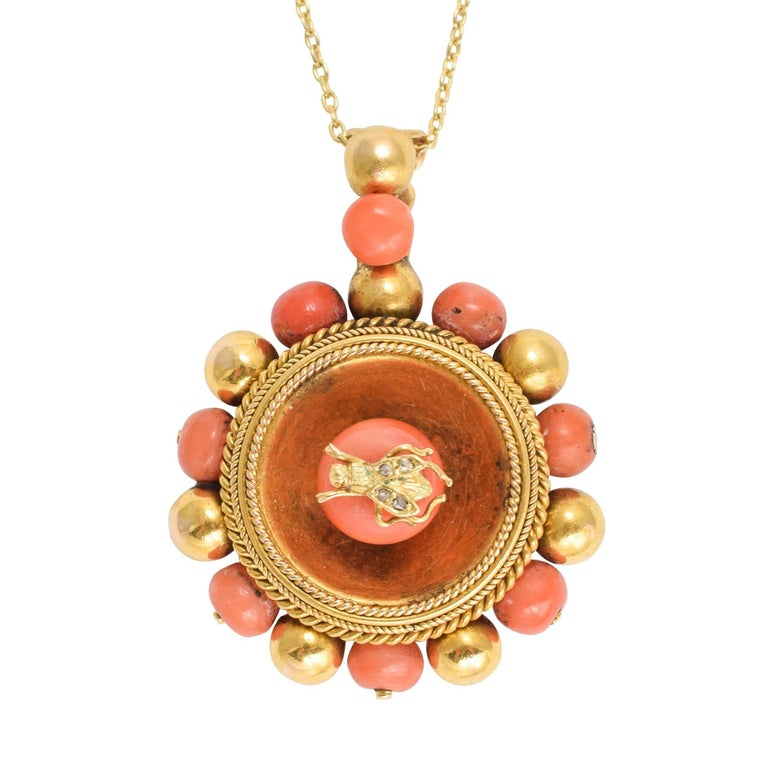 Antique Victorian Etruscan Revival Diamond Fly Locket Necklace
