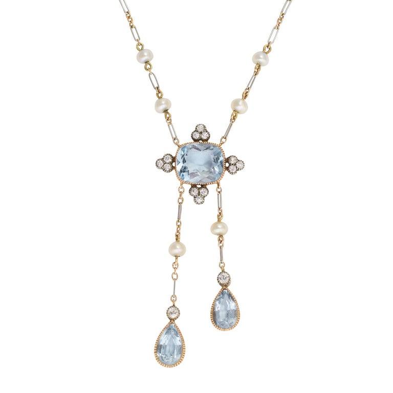 Antique Edwardian Diamond Aquamarine Negligee Pendant Necklace