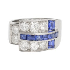 1940s Retro Sapphire Diamond Buckle Ring