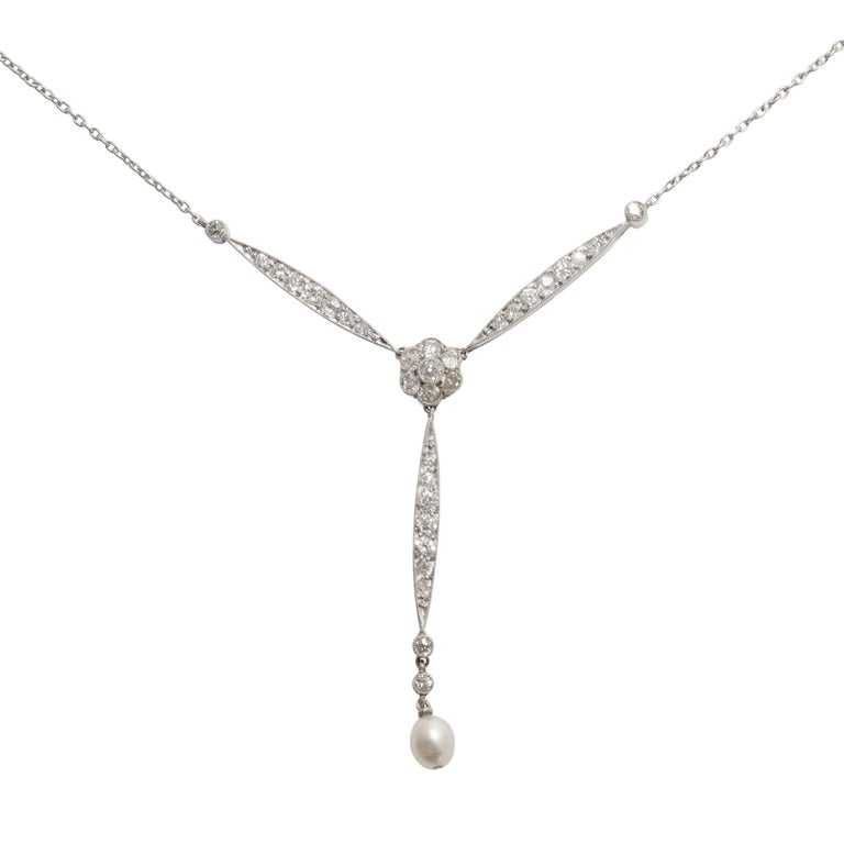 Antique Edwardian Diamond Pearl Platinum Necklace