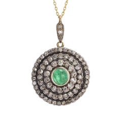 Antique Victorian Diamond Emerald Cluster Pendant