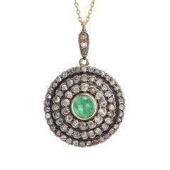 Antique Victorian Diamond Emerald Cluster Pendant