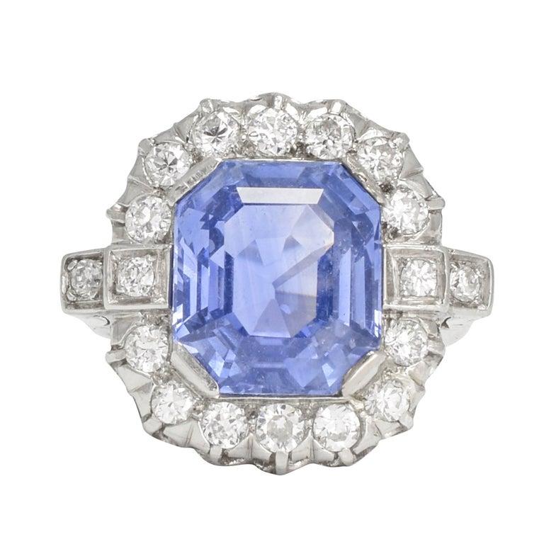 1930s Art Deco Ceylon Sapphire Diamond Platinum Cluster Ring