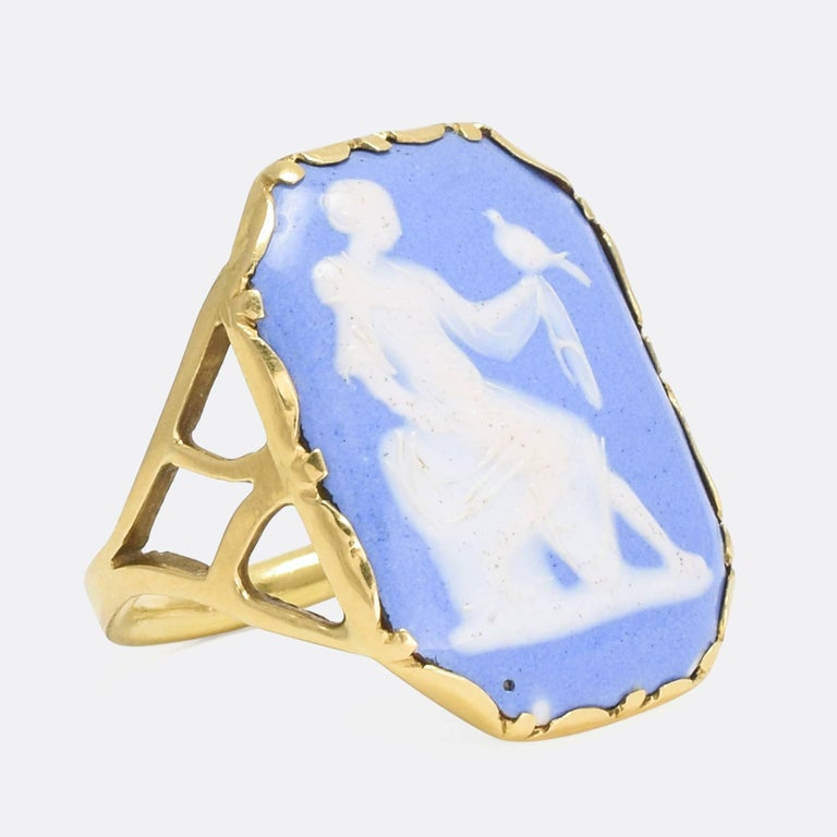 Antique georgian girl with dove cameo ring for sale at 1stdibs a striking antique cameo ring depicting a girl holding a dove in the classical style aloadofball Choice Image
