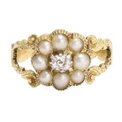 Antique Georgian Pearl Diamond Flower Cluster Ring