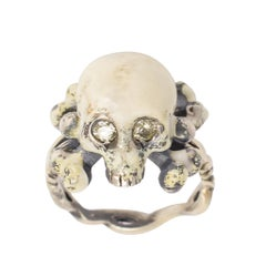 "BL Bespoke ""Skull and Crossbones"" Diamond Memento Mori Ring"