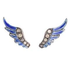 BL Bespoke Wings of Hermes Diamond Stud Earrings