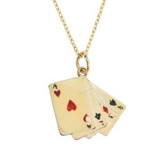 """Vintage 1960s Enameled """"Playing Cards"""" Lucky Charm"""
