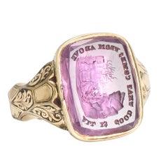 Antique Mid-Victorian Amethyst Intaglio Signet Ring