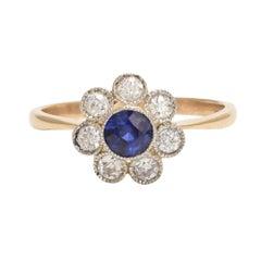 Antique Edwardian Blue Sapphire Diamond Millegrain Cluster Ring