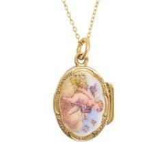 """Antique Victorian Enamelled """"Cupid"""" Vinaigrette Pendant Necklace"""