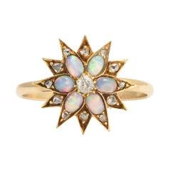 Antique Victorian Opal Diamond Star Ring