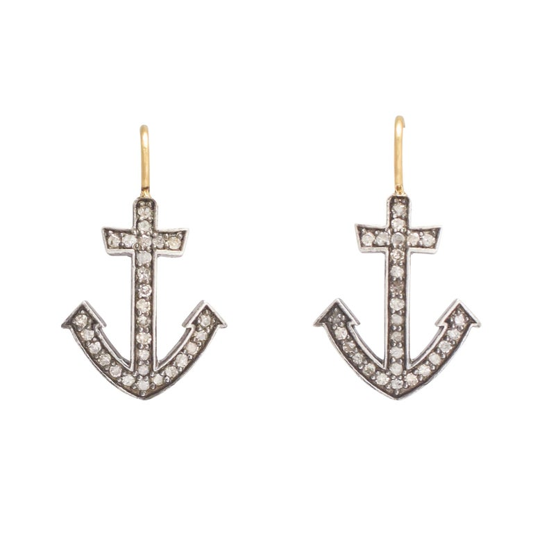 Antique Victorian Diamond Anchor Earrings For
