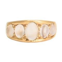 Antique Victorian Moonstone Five-Stone Gold Gypsy Ring