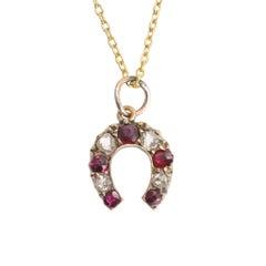 Antique Victorian Ruby Diamond Horseshoe Pendant