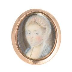 """Antique 18th Century """"Lady with Bonnet"""" Portrait Miniature Ring"""