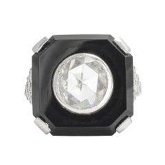 French Art Deco Diamond Onyx Platinum Cocktail Ring