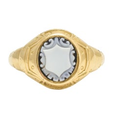 Antique Victorian Onyx Shield Armoured Gold Signet Ring