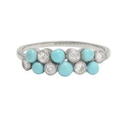 Antique Edwardian Turquoise Diamond Double Row Ring