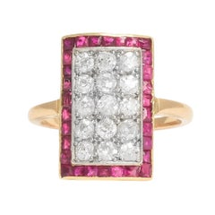 Art Deco Diamond Ruby Picture Frame Ring