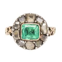 Antique Georgian Emerald Diamond Round Cluster Ring