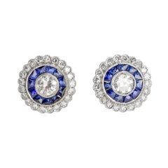 Art Deco Diamond Sapphire Platinum Target Earrings