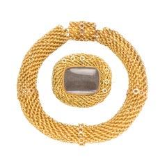 Antique Georgian Fine Gold Mesh Bracelet and Brooch Suite