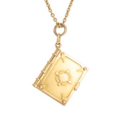 Antique Victorian 15 Karat Gold Book Pendant