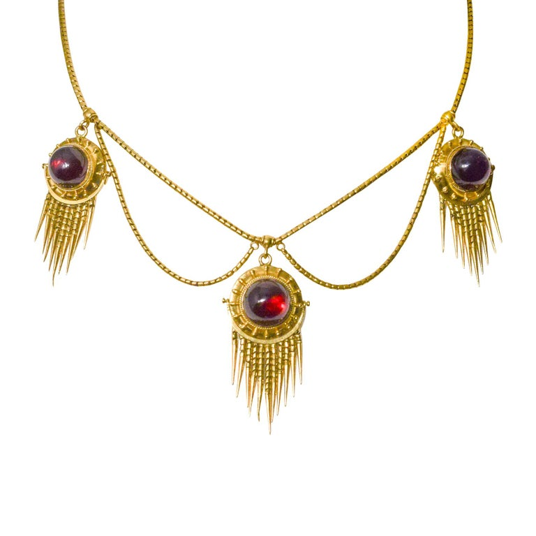 Antique Victorian Etruscan Revival Garnet Swag Necklace