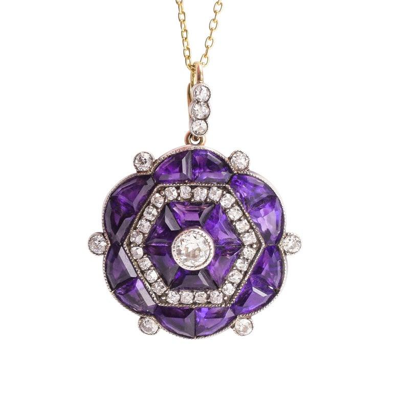Antique Edwardian Diamond Siberian Amethyst Hexagon Pendant Necklace