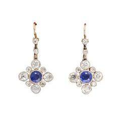 Antique Edwardian Blue Sapphire Diamond Millegrain Earrings