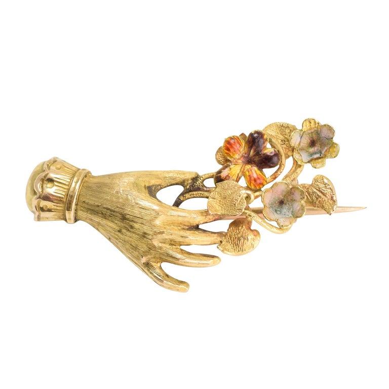 "Antique Georgian ""Hand and Flower Bunch"" Brooch"