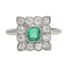 Art Deco Emerald Diamond Square Cluster Ring