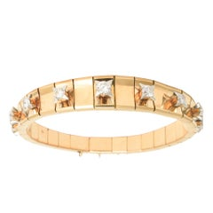 1950s Modernist Diamond Rose Gold Bracelet