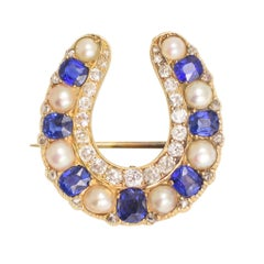 Antique Victorian Sapphire Pearl Diamond Horseshoe Brooch