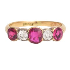 Late Victorian Ruby Diamond Five-Stone Ring