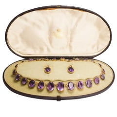 Antique Victorian Amethyst Riviére Necklace and Earrings Suite