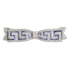 Early Art Deco Sapphire Diamond Greek Key Bow Brooch