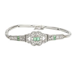 Art Deco Emerald Diamond Millegrain Bracelet