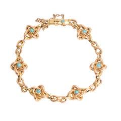 Antique Art Nouveau Turquoise Infinity Bracelet