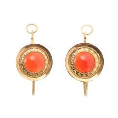 Antique 18th Century Georgian Carnelian Poissarde Earrings
