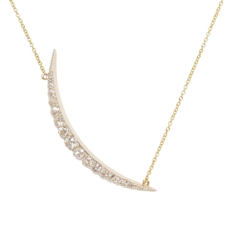 Antique Victorian Diamond Crescent Necklace