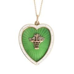 Antique Victorian Diamond Flower Basket Heart Pendant Necklace